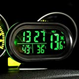 vinmax Digital Car Clock Multi-Functional LED Lighted Car Digital Clock Alarm Thermometer Voltmeter LCD Auto Temperature Gauge Monitor DC 12V