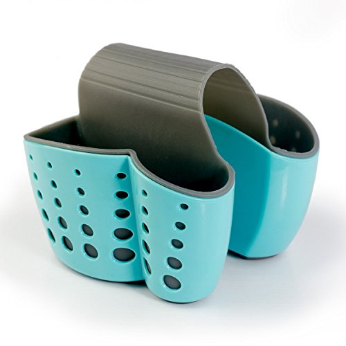 Porta spugna Fubarbar Sink Caddy portasapone per cucina organizzazione cesti portaoggetti in plastica (blu)