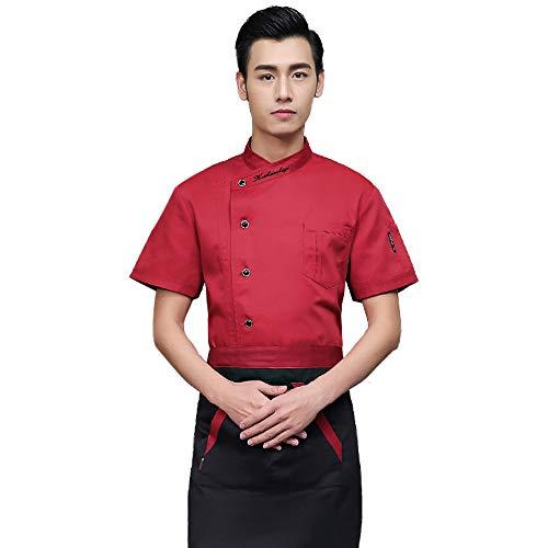 ZEVONDA Chef Uniform Kurzärmeliges Oberteil - Unisex Koch Kochen Ober Kellner Arbeit Kleidung Uniform Kurzärmeliges, Rot, EU M = Tag L