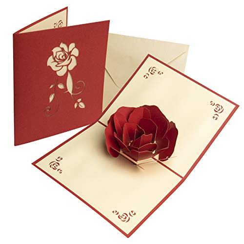 KIMI-HOSI 3D Pop Up Grußkarten mit Umschlag Rose Geburtstagskarte Valentinstagskarte Geburtstag Karte für Hochzeit Muttertag Vatertag Weihnachtstag Erntedankfest Dating