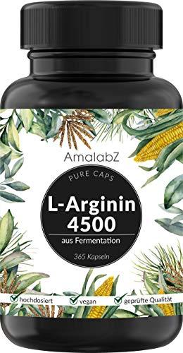L-Arginin - 365 vegane Kapseln - 4500mg pflanzliches L-Arginin HCL pro Tagesdosis (3x2 Kapseln) (= 3750mg reines L-Arginin) - Laborgeprüft, hochdosiert, vegan und hergestellt in Deutschland