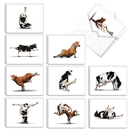The Best Card Company - 20 Blank Yoga Animal Cards (4 x 5.12 Inch) - All Occasion Kids Set (10 Designs, 2 Each) - Bovine Nirvana AM6545OCB-B2x10