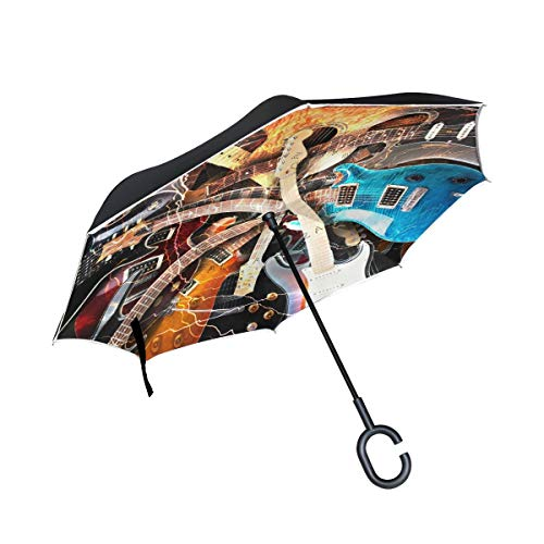 AOTISO Paraguas invertido de la música de Guitarra, Paraguas Reversible Grande del Coche del Sol de la Lluvia al Aire Libre de Doble Capa