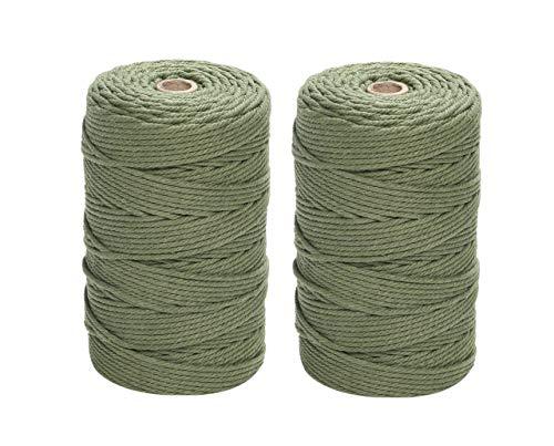 ナチュラルコットン マクラメ 紐 コード ロープ 3mm 綿紐 DIY マクラメ編み 2個セット Gany (グリーン, 200m×2個)