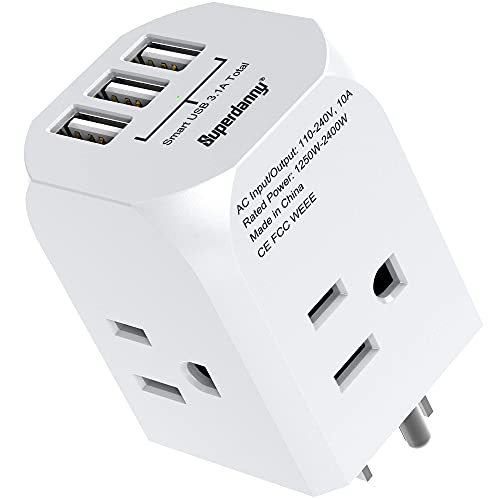 of foreign plug adapters dec 2021 theres one clear winner Multi-Plug Outlet Extender, SUPERDANNY Power Adapter with 4 Electrical Outlets & 3 USB Ports Extra-Wide Spaced Cube Charger Cruise Ship Approved, Wall Plug Splitter for Home Office Dorm Hotel, White