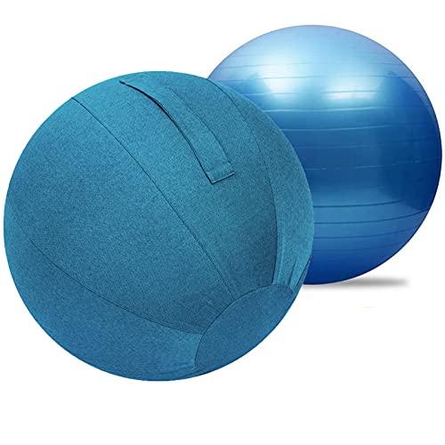 LYQCZ Bola De Yoga para Adultos Pelota Asiento Silla con Cubierta Funda Y Asa, Pilates Pelota Embarazo, Pelota De Yoga con Bomba, La Oficina, En Casa O En El Gimnasio(Color:Blue Blue,Size:55cm)