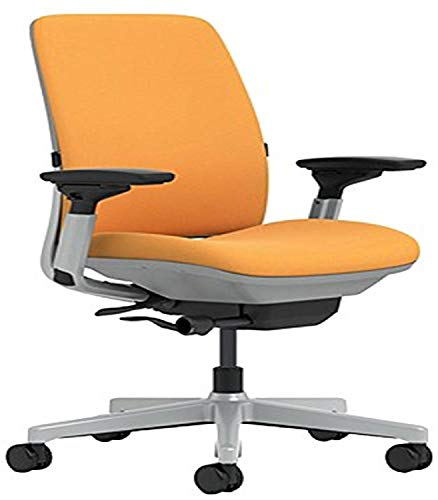Steelcase Amia Chair with Platinum Base & Hard Floor Casters, Carrot