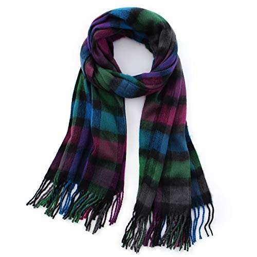 Lusm Unisex Cashmere Feel Plaid Scarf Winter Large Wraps Warm Tartan Blanket Women Men British Style Scarves (Green Purple)