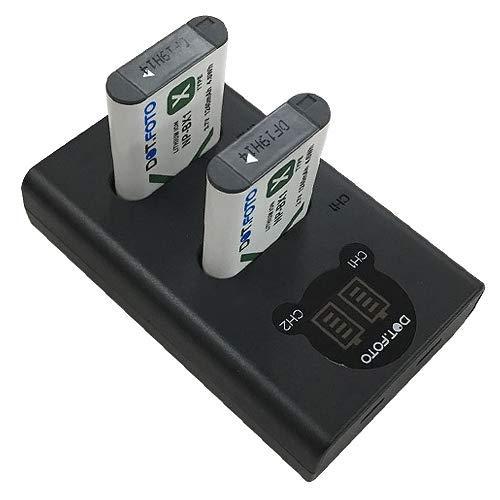 Dot.Foto NP-BX1, NPBX1 Vervangende batterij (2 stuks) & Snelle LCD USB dubbele oplader voor Sony [Zie Beschrijving voor compatibiliteit]