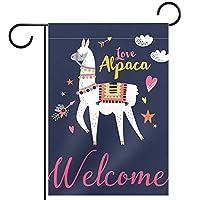 ホームガーデンフラッグ両面春夏庭の屋外装飾 28x40in,ようこそ愛アルパカ