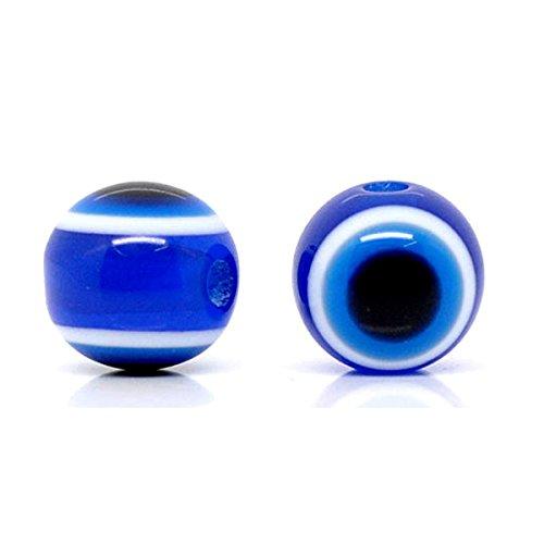 YF 100PCS Stripe Dark Blue Round Resin Evil Eye Spacer Beads Jewelry Making Findings 10mm