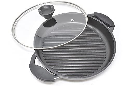 Sarten plancha induccion de aluminio fundido | Plancha para inducción antiadherente de 27 cm | Plancha induccion antiadherente grande negra con tapa