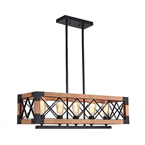 OYIPRO Suspension Bois, Rétro Lustre 5-Lumière, Table îlot Suspension Luminaire, E27 Métal Pour Salle à Manger, Cuisine (Sans ampoules)