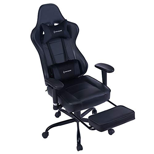 HEALGEN Back Massage Gaming Chair with Footrest,PC Computer Video Game Racing Gamer Chair High Back Reclining Executive Ergonomic Desk Office Chair with Headrest Lumbar Support Cushion (Black)