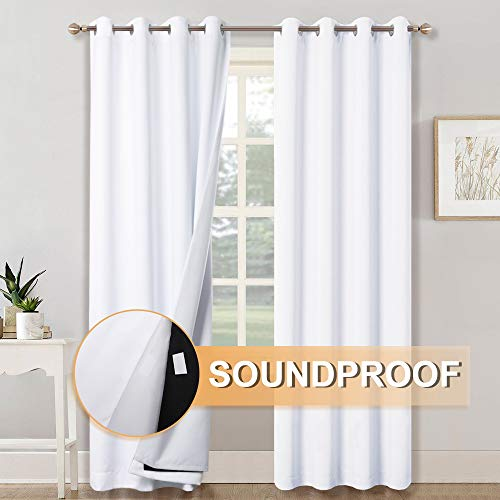 RYB HOME Soundproof Divider 100% Blackout Curtains for Living Room Window, Inside Felf Fabric...