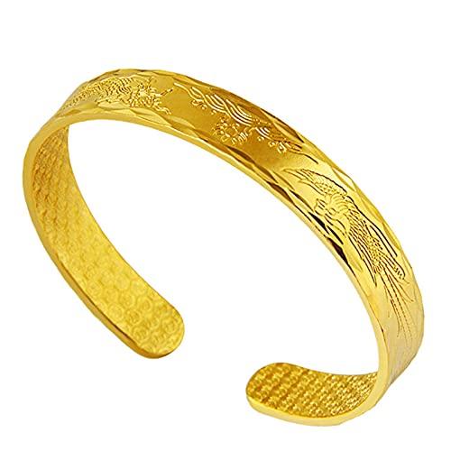 Pulseras de bodas para mujer chapadas en oro, pulseras de joyería de oro de arena, pulseras de arena con placas de oro para Dragon y Phoenix Patrón de joyería, oro de arena (patrón de dragón y fénix)