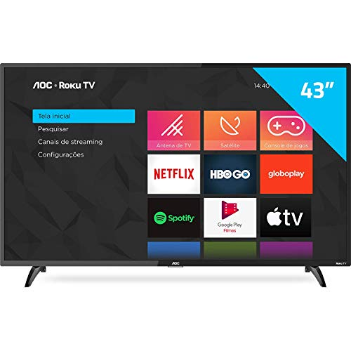 "Smart TV LED 43"" Full HD AOC ROKU TV FHD 43S5195/78G, Wi-Fi, 3 HDMI, 1 USB, Wifi, Conversor Digital"