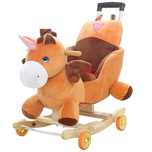 Caballo balancín La música de los niños Trojan Horse Baby Baby Mecedora Silla de Madera Maciza...