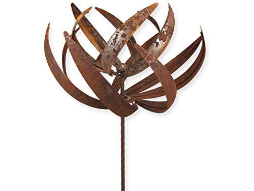 Crispe Metall Windrad 'Lotus' - massives Windspiel Windmühle für den Garten - wetterfest und standfest - mit besten Kugellagern - aus Vollmetall mit Edelrost-Patina – Höhe 221 cm