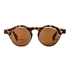 Sunglasses Men's Ladies Flip Up Lens U400 Protection Vintage Classic Steampunk Look (A1 Tortoise) #1