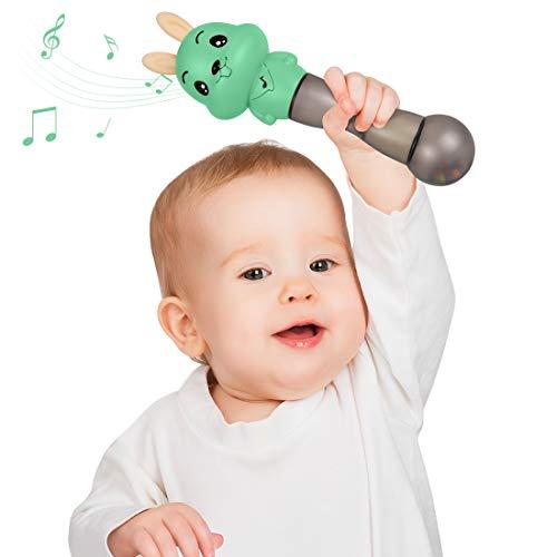 TUMAMA Baby musikspielzeug, 4 in 1 Rasseln Musikspielzeug mit Musik und Lichter,musikinstrumente für Kleinkinder,Musik Baby Spielzeug Hammer Musik aktivitätsspielzeug Geschenk für Babys(Grün)