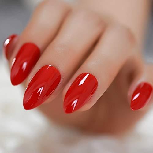 DKHF Valse nagels Vierkante natuurlijke vorm glanzende gelnagels oranje roze