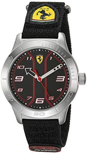 Ferrari Boys' 0810022 - Reloj de Pulsera de Acero Inoxidable con Correa de Tela de Velcro, Color Negro, Talla 16