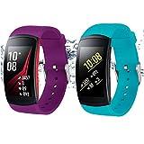 Rukoy Correas para Samsung Gear Fit2 Band/Gear Fit2 Pro [Paquete de 2: Verde Azulado + púrpura], Accesorios para Baterías de Repuesto para Samsung Gear Fit2 Pro SM-R365/Gear Fit2 SM-R360(5.9'-7.5')
