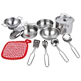 Little Chef Play Kitchen Utensils - Stainless Steel Cookware Set for Kids, Play Pots and Pans Set for Kids, Play Dishes, Kids Kitchen Set Dishes - Silver