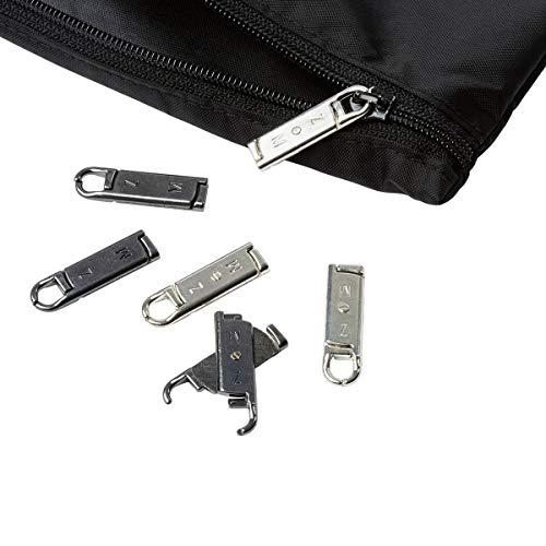 Unbekannt TRI Ersatz-Zipper Easy, 6 Stück, Reißverschluss Reparatur, Universalzipper, Reparaturset, 3 x silberfarben, 3 x anthrazit, Metall, 3,5 x 1 cm