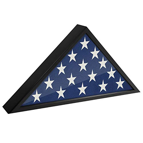 Americanflat Flag Case for Veterans - Fits a Folded 5' x 9.5' American Military Flag - Triangle Display with Polished Plexiglass (Black)