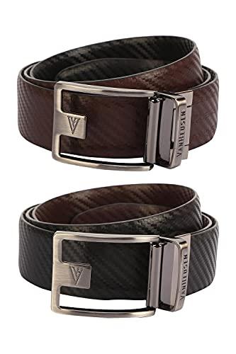 Van Heusen Men's Leather Belt (VHBLARGFC100006_Black_Large)