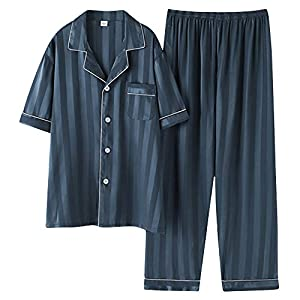 パジャマ メンズ 半袖&長ズボン 夏 ルームウェア 部屋着 サテンパジャマ 前開き 光沢あり 肌に優しい 吸汗通気 冷感 セットアップ