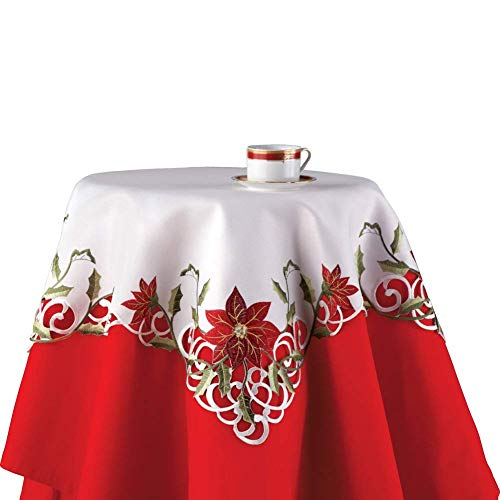 Trenton Gifts Christmas Poinsettia Square Table Linens | Embroidered