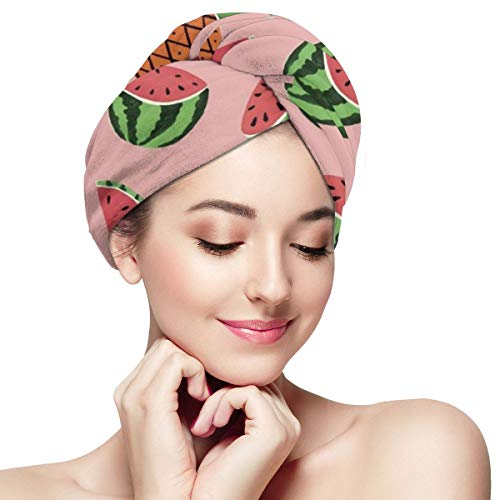 Tropical Fruits Pineapple and Watermelon Dry Hair Cap Microfibre Hair Towel Wraps Ultra Absorbent Quick Dry Twist Turban with Button for Drying Curly