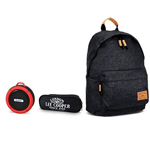 Rugzak zwart + etui 2 vakken + Bluetooth luidspreker waterdicht met snoer