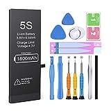 Batería para iPhone 5s 1800mAH Reemplazo de Alta Capacidad, Heganus Batería para iPhone 5s con 15% más de Capacidad Que la batería Original y con Kits de Herramientas de reparación, Cinta Adhesiva
