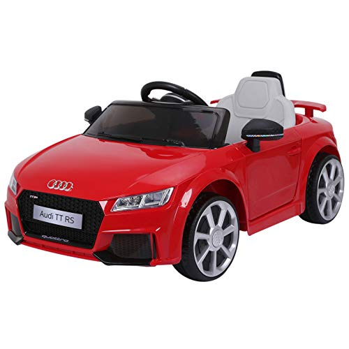HOMCOM Audi TT Eléctrico Infantil Coche Juguete Niño 3 Años+ con Mando a Distancia con Música y Luces Modos de Aprendizaje Batería 6V Doble Apertura de Puerta Carga 30kg 103x63x44cm Color Rojo