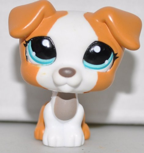 Jack Russell #1093 (White, Blue Eyes, Orange Accents) Littlest Pet Shop (Retired) Collector Toy - LPS Collectible Replacement Single Figure - Loose (OOP Out of Package & Print)