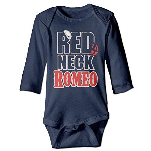 FULIYA Body de manga larga para bebé con diseño de Crawler para bebé, unisex, para bebé, con cuello rojo, para niñas, de manga larga, color azul marino