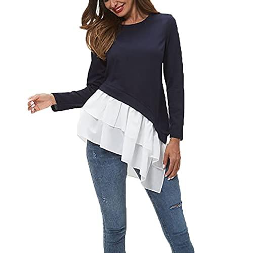 Primavera Y Verano Mujeres Casual Cuello Redondo Color SóLido Suelto De Manga Larga con Volantes Blusa SuéTer Camiseta Mujer