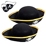 2 Packs Kids Felt Pirate Hat - Tri Corner Pirate Party Hat - Skull Print Pirate Captain Costume - Party, Birthday, Halloween Accessories with Eye Patch