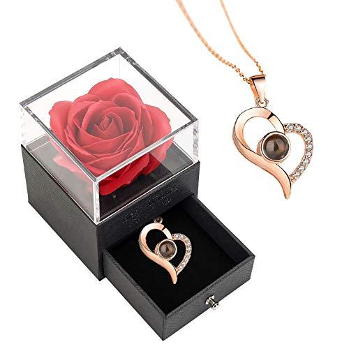 Vera rosa regalo con collana, vera scatola regalo con cassetto e scatola di rose con collana, regalo per donne per la festa della mamma, San Valentino, anniversario, matrimonio, compleanno