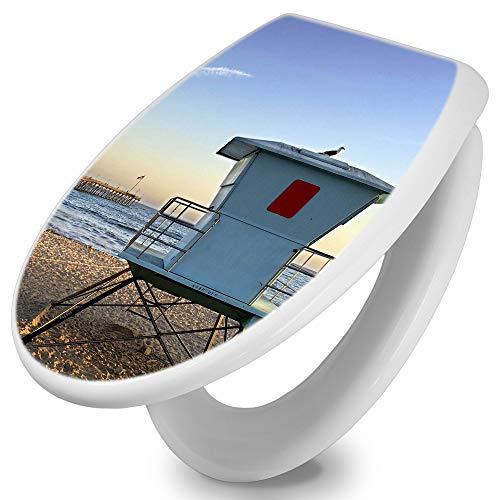banjado Toilettendeckel mit Absenkautomatik   WC Sitz 44cm x 5cm x 37cm   Klodeckel weiß   Klobrille mit Edelstahl Scharnieren   Toilettensitz mit Motiv Rettungsturm