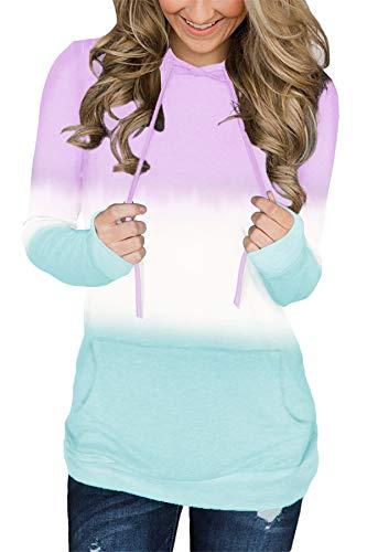 onlypuff Tie Dye Pullover Hoodies for Women Hoody Sweatshirt Kangaroo Pocket M