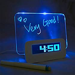 Digital Alarm Clock,Luminous LED Fluorescent Message Board LCD Calendar with 4 Port Usband Night Light for Home, Office Gift,Blue-Light