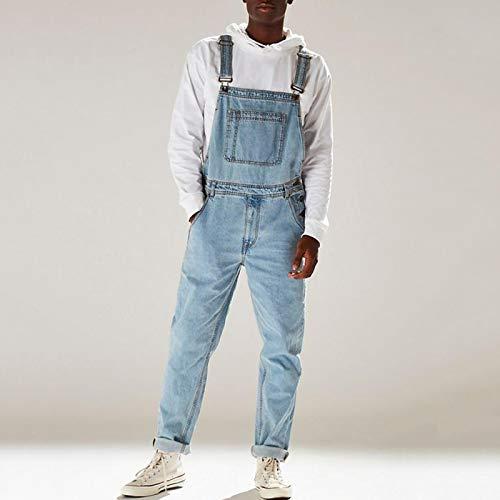 Jeans Pantalon Herren Denim Latzhose Gewaschene Jeans In Voller Länge Jumpsuits Hip Hop Straight Jean Overalls Für Herren Streetwear Neuer Männlicher Jumpsuit L Lightblue
