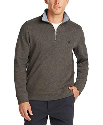 Nautica Men's Classic Fit Quarter-Zip Pullover, Charcoal Heather, Large