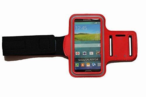 Sport-armband in Rot, Fitness-hülle Running Handy Tasche Hülle für Apple ipod touch g iphone 3 4 5 S C, Samsung Galaxy 3 & 4 mini, Huawei Y330 Nokia Lumia 530, 532 mit Kopfhöreranschluss - Dealbude24 (Rot)