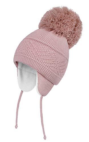 EOZY Cagoule Ski Cacher Oreilles pour Bébé Fille Garçon Hiver Chaud Polaire Coton Chapeau Bonnet Tricot Pompon Enfant Garçon Bambin Mignon Outdoor (Rose, 2-5ans)